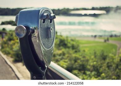 tourist binoculars at Niagara Falls, USA, vintage style
