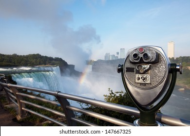 Tourist binoculars on the observation deck Niagara Falls
