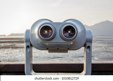 Tourist binoculars. Binoculars telescope on observation deck for tourist. Ganghwa-gun, Incheon
