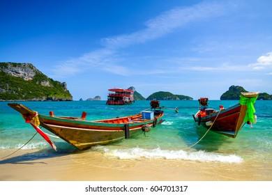 Tourist boat in Ang Thong sea, thailand