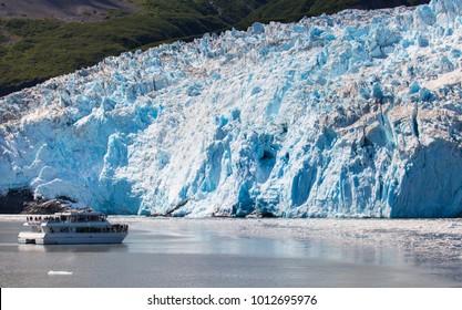 Tourist boat in front of exit glacier, Kenai, Alaska