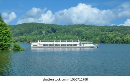 Tourist Boat at Lake Baldeneysee in Essen,Ruhrgebiet,North Rhine westphalia,Germany