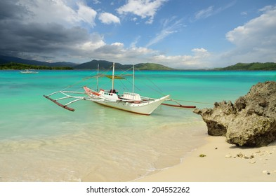 Tourist boat on the docks, the island of Boracay, Philippines