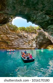Tourist boat on the lake in Melissani Cave, Kefalonia Island, Greece