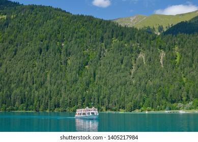 Tourist Boat on Lake Weissensee in Carinthia,Austria