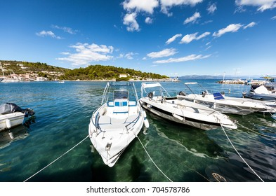 Tourist boats in beautiful Mediterranean bay