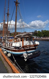 Tourist boats. Old Port Oslo. View of the Aker Brygge, popular area with a lot of bars, restaurants, museums and viewing zone to scenic Oslo Fjord. Landmark of Oslo.June 16. 2018. Oslo,Norway