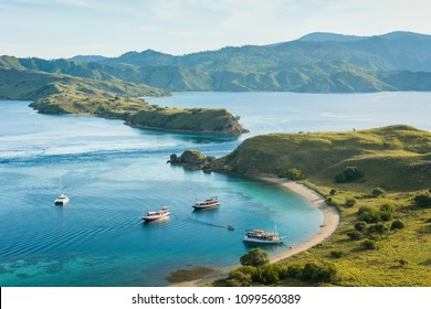Tourist boats from the top view of 'Gili Lawa' in an evening, Komodo Island (Komodo National Park), Labuan Bajo, Flores, Indonesia