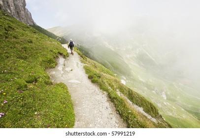 Tourist in Bucegi, Romania