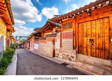 the tourist in bukchon hanok village: 22 august 2018 seoul korea