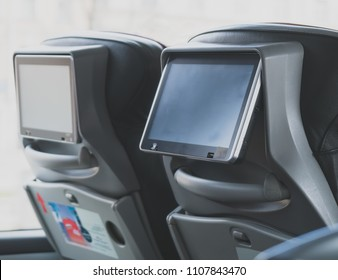 Tourist bus with built-in LCD tablets.