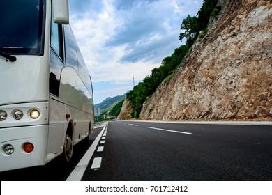 Tourist bus on a mountain road