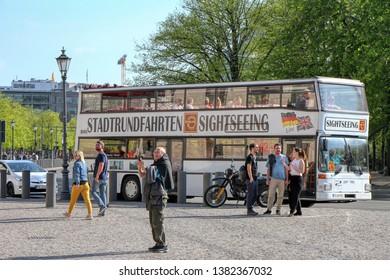 Tourist bus in Platz des 18. März in Berlin, Germany - 20/04/2019