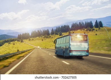 tourist bus Rides on the Picturesque mountain highway