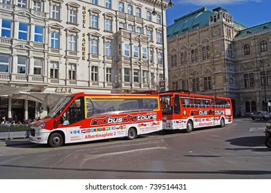 Tourist Bus Tours Stop in Downtown Vienna Austria, 13.August 2015