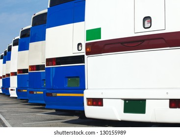 Tourist buses on a parking
