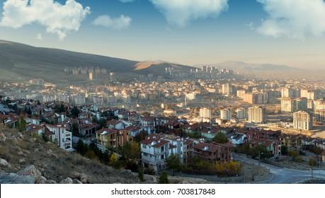 tourist cruising hill. Malatya city - Turkey