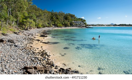 Tourist Destination for Paddle Boarding and Kayaking in the Beautiful Noosa Heads With Stunning Beach Landscape During Summer, Little Cove, Sunshine Coast, Queensland, Australia