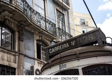 A tourist detail of a very popular tram line that runs in Lisbon, Portugal