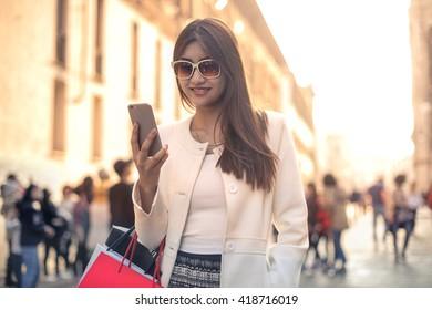 Tourist doing shopping