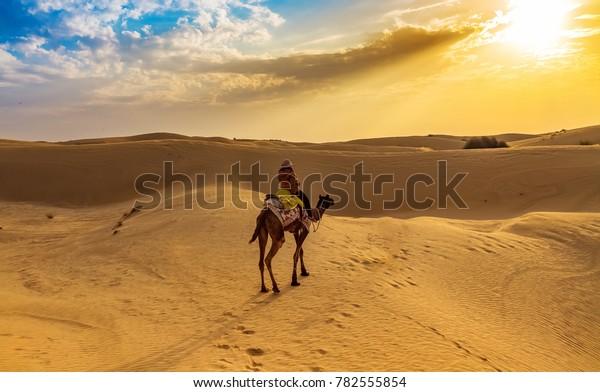 Tourist enjoy desert safari camel ride at Thar desert Jaisalmer, Rajasthan, India.