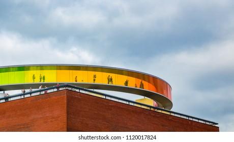 Tourist enjoying the panorama view at The rainbow ring Aarhus city , Denmark, 23 June 2018