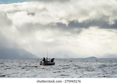 Tourist fishing in the Pacific Ocean, Skeena-Queen Charlotte Regional District, Haida Gwaii, Graham Island, British Columbia, Canada