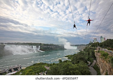 Tourist flying over the Niagara