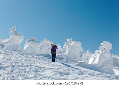A tourist in the forest of giant Juhyo ( ice trees or snow monsters) on the snowy mountainside under blue clear sky in Zao hot spring ( onsen ) & ski resort on a sunny winter day, in Yamagata, Japan