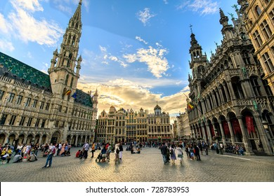 Tourist at the Grand Place in Brussels, Belgium - June 2017