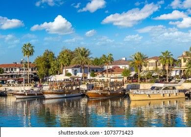 Tourist harbor, Mediterranean resort in Side in a beautiful summer day, Antalya, Turkey