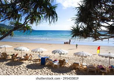 Tourist have a sunbath on the beach at Kata beach, Phuket, Thailand : The famous beach in Phuket, Thailand