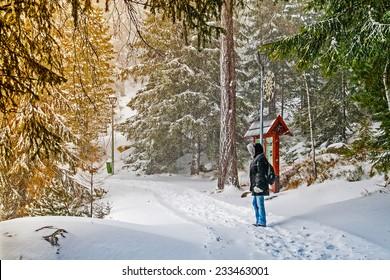 Tourist in High Tatras, Strbske Pleso, Slovakia