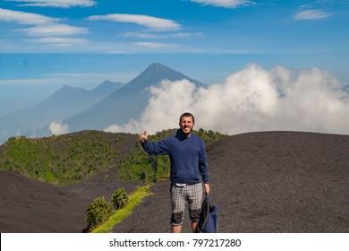 Tourist hiker trekking in the volcan in Guatemala