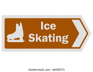 Tourist information series: photo-realistic metallic, reflective 'ice skating' sign, isolated on white