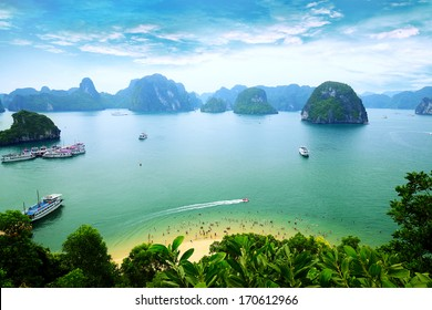 Tourist Junks in Halong Bay from titop island, Vietnam