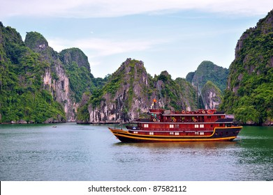 Tourist Junks in Halong Bay, Vietnam.