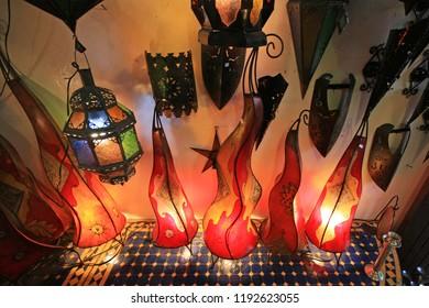 Tourist lamps, market, Marrakech, Morocco