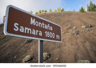 Tourist landmark sign of Samara mountain, Tenerife, Canary Islands