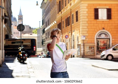 Tourist looking at map