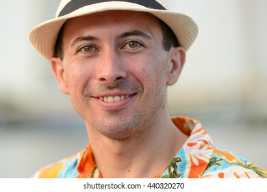 Tourist man smiling
