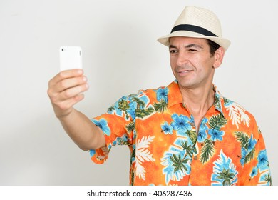 Tourist man taking selfie picture
