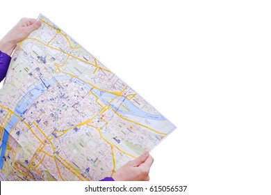 Tourist map of Prague in hands on white background