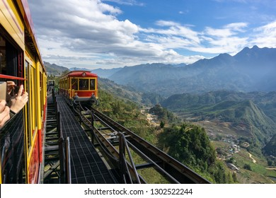 Tourist mountain tram, the transporation to Fansipan cable car station in Sapa town, Vietnam, with mountain landscape scene