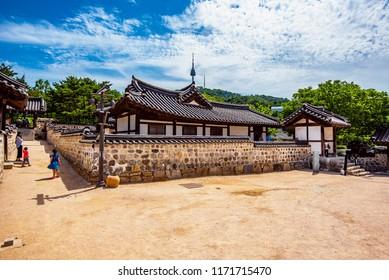 the tourist in namsangol hanok traditional village : 1 september 2018 seoul korea