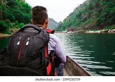 Tourist on the boat at Shnongpdeng, Tourist Destination, Meghalaya, Khasi Hills, India