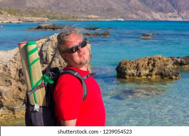 Tourist on Elafonisi island. Crete, Greece