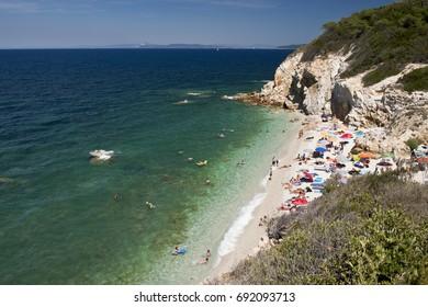 Tourist on Spiaggia la Sorgente, Isola d'Elba. Italy