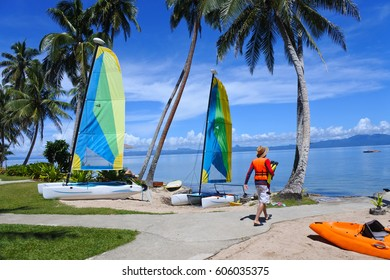 Tourist on travel holiday vacation in Tropical resort on Vanua Levu Island