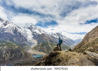 Tourist on the trek - Nepal Himalayas Annapurna Circuit